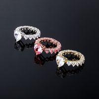 HIP HOP WATER DROP CZ Bagues Fashion Pricess Coupée Cube Cubic Zircon Bande Anneau de mariage Engagements Doigt pour femmes Bijoux 843 B3