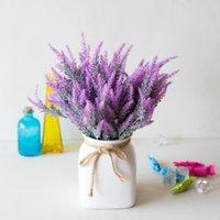 5 cabezas lavanda plástico flores artificiales romántica provence púrpura ramo con hojas verdes boda casa decoración decoración fake flor
