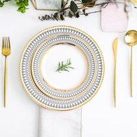 Gerichte Platten European Glas Perle Gold Inlay Steak Platte Salat Hochzeit Partei Event Dekoration Geschirr Geschenk