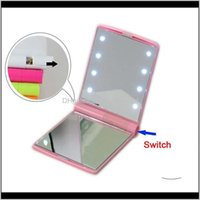 Mirrors Décor Home Garden Drop Delivery 2021 Makeup Travel Folding Portable Compact Pocket 8 Lighted Lady Led Make Up Mirror Lights Lamps Dh0