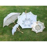 Mango largo Handmade Art Body Fallop Edge Bordado Bordado de algodón Puro Lace Boda Umbrella Parasol Romántico Fotografia
