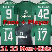 FANS Player versión 21 22 Celtic Soccer Jerseys MCGREGOR GRIFFITHS 2021 2022 DUFFY FORREST CHRISTIE EDOUARD Elyounoussi Turnbull Home Hombres camisetas de fútbol para niños