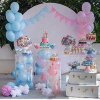 3pcs redondo cilindro acrílico plinths bolo flor pedestal carrinho balloons cremalheira para festa de aniversário de festa de aniversário de bebê diy decoração de casamento
