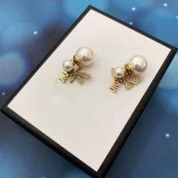 2022 여성 파티 웨딩 애호가 선물 쥬얼리 약혼 신부를위한 꿀벌 나비 편지 다이아몬드가있는 매력 진주 귀걸이