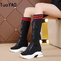 Boots Spring Women Knee High Wedges Heels 8CM Platform Lace Up Long 2021 Autumn Mesh Sneakers Motorcycle