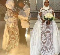 2022 White Plus Size African Nigeria Mermaid Wedding Dresses with Detachable Lace Applique Long Sleeve Nude Lining Muslim Bridal Dress Robe
