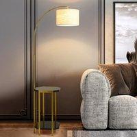 مصابيح أرضية مفيدة مصباح الذهب المعدني مع كتاب رف مزدوج ضوء مزدوج الحديثة مبيعات جيدة اللوحة النسيج الظل