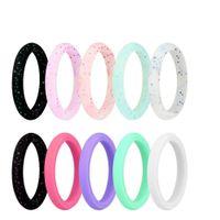 Silikonowy obrączkę dla kobiet, niedrogie gumy silikonowe gumy ślubne zespoły,