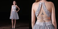Grey Lace Party Dresses Short Backless Homecoming Prom Gowns Tulle Skirt lively Elegant