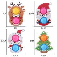 Kawaii Christmas Elk Snowman Push Fidget Brinquedos Keychain Anel Adulto Stress Stress Autism Popit Squeeze Brinquedos Presentes