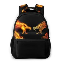 Backpack Mountaineering Two Fire Dragon Heads Shoulder Bags Backpacks