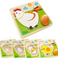 Chick Tavuk Büyüme Süreci 3D Bulmaca Çocuklar Ahşap Oyuncak Anaokulu Okul Öncesi Bebek Erken Eğitim Öğrenme Oyuncaklar Çocuk Hediye A0511