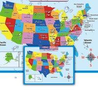 Duvar Çıkartmaları Amerika Birleşik Devletleri Haritası Çocuk Coğrafya Öğrenme Okul Öncesi Eğitim Poster Sınıf Anaokulu Dekorasyon
