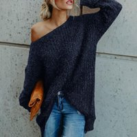 Womens T Shirt Slash Neck Off Shoulder Knitted Pullover Spring Autumn Loose Ladies Jumper Woman Tshirts Women's T-Shirt
