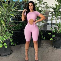 Summer List Young Beach Open Hollow Out Bandage Top Solid Short Sleeve Elastic Women High Waist Slim Playsuits Women's Jumpsuits & Romp Romp