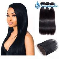Paquetes de pelo de Malasia con paquetes de cabello vírgenes rectos brasileños de 8A con un cierre frontal de 13x4 paquetes de cabello humano indio peruano