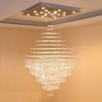 Duplex building big chandeliers living room lamp modern villa hall hotel square crystal long chandelier staircase chandeliers