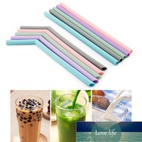 Silicone Drinking Straws Kitchen Accessory Reusable Foldable Flexible Straw With Cleaning Brushes Kids' Party Supplies Bar Tools