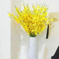 Flores decorativas Grinaldas 95cm Borboleta de seda Orquídea Artificial Flor Amarelo Dança Phalaenopsis Fake para Decoração de Casamento Quarto Home