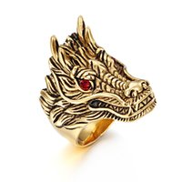 Gold Plated Ruby Eyes Stainless Steel Jewelry Dragon Head Ring for Mens