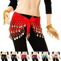 Belts 158cm X 26cm India Shinning Skirt Belt Dancing Wrap 3rows Gold Coin Belly Dance Costume Hip Scarves Chiffon Waist Chain