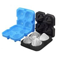 4 Cell Diamond Ice Cube Tray,Bar Tools Easy Release Silicone Mold,Candy Mould, for Whiskey,Cocktails and Juice Beverages