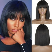 Synthetic Wigs AZQUEEN Short Bob Wig With Bangs For Women Black Pink Orange Party Daily Use Shoulder Length