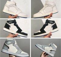 الرجال النساء الفاخرة 1 1 ثانية أحذية كرة السلة عالية أبيض أسود رمادي إلكتروني الطباعة المطرزة حذوص حذاء cn8607