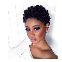 Afroamericano Afro Corto Pixie Corte Kinky Curl Wigs Simulación Pelo humano Color rizado Black Wig para las mujeres
