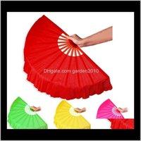 Favore Evento Festive Home Giardino Giardino Drop Consegna 2021 41cm Solid Black Red Pieghevole Pieghevole Fan Fan Craft Dance Performance per la festa nuziale Souvenir de