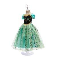 Kız için Prenses Elbise Kar Kraliçe 2 Kısa Kollu Kar Tanesi Kanat Cosplay Fantezi Kostüm Cadılar Bayramı Pageant Giysileri Çocuklar Yeşil Giyim 3249 Q2