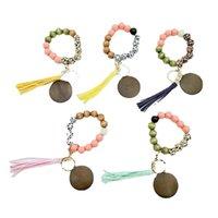 Luipaard hout kralen armband sleutelhanger met kwast cirkel mode elastische sleutelhangers voor dame handtas hanger sieraden