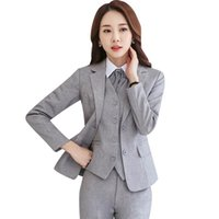 3 pezzi Set Donne Gilet Blazer e Pant Suits Ufficio Lady Formal Business Business Lavoro carriera rosso viola blu grigio uniforme