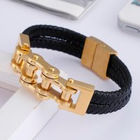 Tennis High Quality Leather Bracelet Stainless Steel Gold   Silver color Motorcycle Bangle Jewelry 8.46''