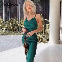 satin silk women midi dress strap side Dulzura slit backless sexy streetwear 2019 autumn winter party clothes elegant dinner NLO1
