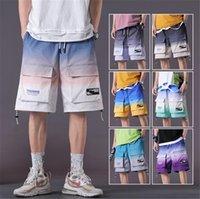 Мужские штаны мужские грузовые шорты дизайнер середины талии свободный градиент цвет короткие шнурные шнуры хип хоп Homme брюки B49K