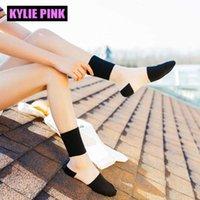 Kylie pink neue sommer frauen ultradünne transparente socken für mädchen kleid kristall glas seide meias spitze kurze baumwollsocken