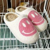 핑크 스마일 얼굴 슬리퍼 여성 미소 행복 복고풍 부드러운 봉제 콤프 워스 슬립 - 온 210903