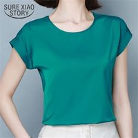 Summer Sexy Casual Silk Shirts Women Solid Satin Blouse Shir...