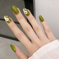 False Nails 24Pcs White Olive Green Tai Bagua Pattern Long Round Fake Full Nail Art Tips Press On Wholesale Drop