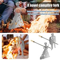 Tools & Accessories 2PCS Stainless Steel Barbecue Skewer Sheet Grill Men Women Shape Dog Cooker Kewers Shish Kebab BBQ Camping Flat Forks