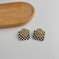 Stud FFLACELL Korean 2021 Fashion Vintage Checkerboard Square Metal Earrings Party For Women Girls