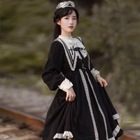 Japanese Vintage Lolita Dress Ruffles Designer Women Long Sleeve Maxi Fall Korean One-piece Lady Wedding Party Goth Casual Dresses