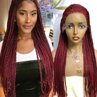 Synthetic Wigs Wine Red Braided Box Braids 99J Wig Heat Resistant Fiber 26 Inch With Baby Hair Lace Front For Women