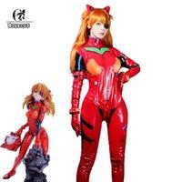 Rolecos Anime Eva Cosplay Kostuum Eva Asuka Langley Soryu Cosplay Kostuum Sexy Jumpsuit Vrouwen Red Bodysuit Halloween Headwear G0925