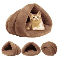 Pet bed For Cats Dogs Soft Nest Kennel Bed Cave House Sleeping Bag Mat Pad Tent Pets Winter Warm Cozy Beds 210418