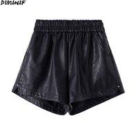 Dimanaf Plus Размер женщины короткие брюки высокой талии PU кожаные брюки брюки летние леди твердого негабарита дома юбка моды 4XL 210714