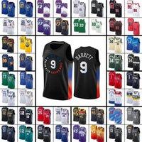 YeniYorkKnicksNbaBasketbol Formaları Erkekler Çocuklar RJ 9 Barrett 6 Payton Kevin Knox II Gençlik 2021 Swingman City Black Edition S-XXXL