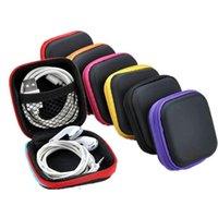 Funda para auriculares Earbudos portátiles Box Box PU Auricular Auricular Bolsa de almacenamiento Protector USB Organizador EWE5566