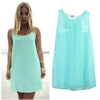 Wholesale high quality affordable prices Women Summer Sleeveless Dress Casual Solid Green Loose Strappy